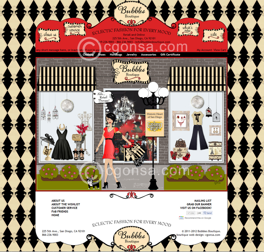 Bubbles Boutique - web design
